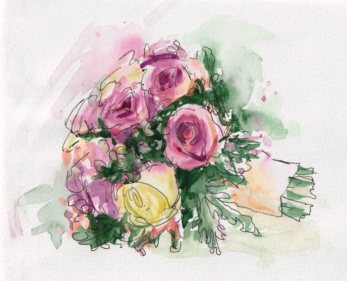 Wedding sketching flowers